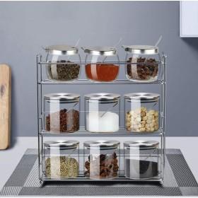 調味料入れ 調味料ボックス スパイス瓶 調味料セット 収納容器 キッチン用 蓋カバー&スプーン スパイスジャーセット スパイス ラック 3段 6段