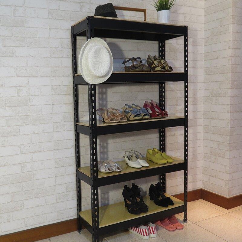工業風 靴架 玄關櫃 鞋櫃置  層架 消光黑角鋼鞋架 (3x1x5尺_5層) 空間特工【SBB35】