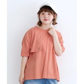 メルロー merlot 5分袖トレンチプルオーバートップス (オレンジ)