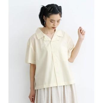 メルロー merlot ビッグポケット開襟シャツ (ホワイト)