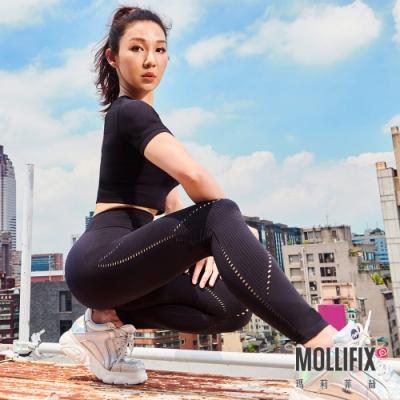 筋肉媽媽聯名 Mollifix 瑪莉菲絲 A++網眼針織無痕九分褲 黑