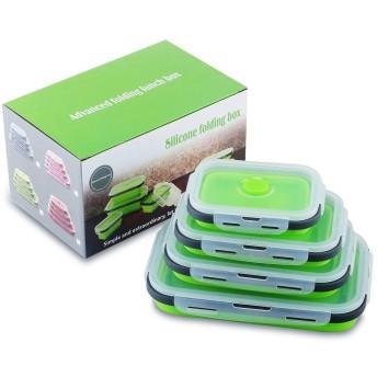 冷凍庫ホームピクニックポータブルランチボックス緑(4pcs)の折りたたみ可能なシリコーン折りたたみ食品貯蔵容器
