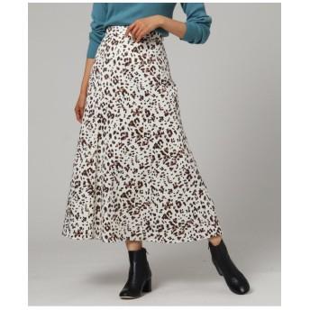 【洗える】サテンレオパードスカート