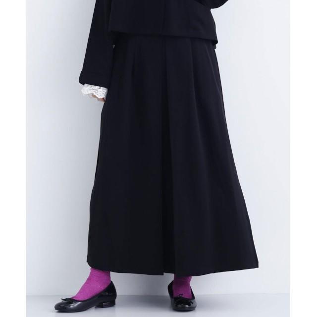 メルロー merlot 【merlot plus】デザインタックロングスカート (ブラック)