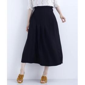 メルロー merlot 【merlot plus】サイドベルト付きラップスカート (ブラック)