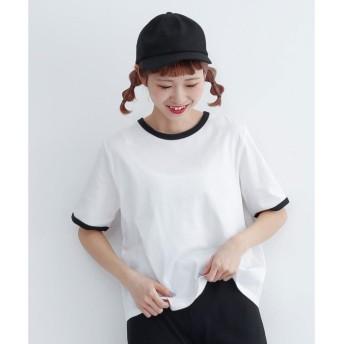 メルロー merlot 配色パイピングリンガーTシャツ (オフホワイト)