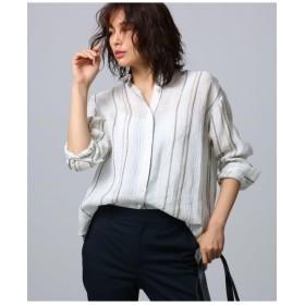 [L]リネンストライプシャツ
