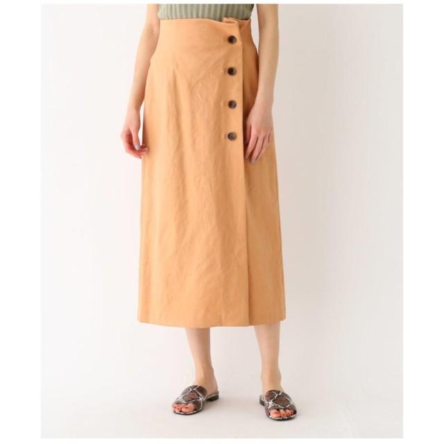 DRESSTERIOR リネン混ロングタイトラップ調スカート