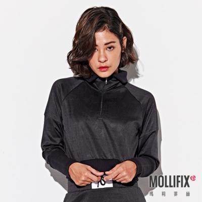 Mollifix 瑪莉菲絲 浮凸雕花前拉鍊短版翻領上衣 (黑)