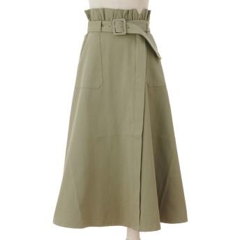 バックボタンベルトフレアスカート