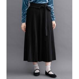 メルロー merlot 【merlot plus】ウエストリボンニットプリーツスカート (ブラック)