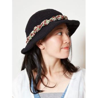 ◆【チャイハネ】ハンドメイド手編みハット ブラック