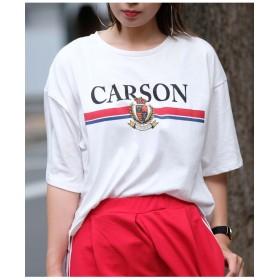 ロゴプリントサイドスリット半袖Tシャツ