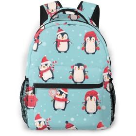 リュック サック ブルー 赤い ペンギン 雪 高校生 レディース メンズ 大容量 軽量 防水 おしゃれ かわいい 人気 便利 耐久性 通勤通学 シンプル 多機能 大人男女兼用 プレゼント YAMAYAGO