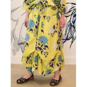 【チャイハネ】yul オリエンタルフラワー変形バルーンスカート イエロー