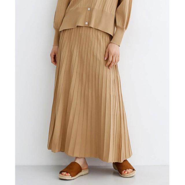 メルロー merlot ストライプフレアニットスカート (ベージュ)