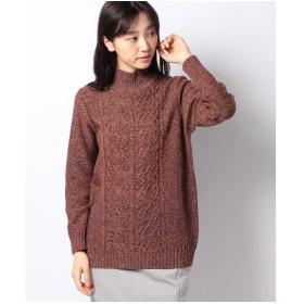 レリアン ミックス編みハイネックセーター(レンガ)
