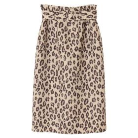 【スカート】ベルト付レオパード柄スカート