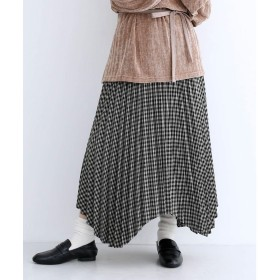 メルロー merlot チェック柄アシメヘムプリーツスカート (ブラック)