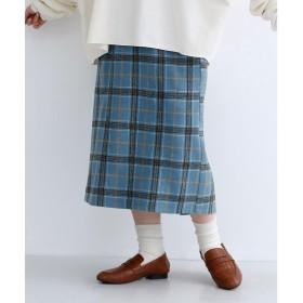 メルロー merlot チェック柄フロントタックタイトスカート (ブルー)