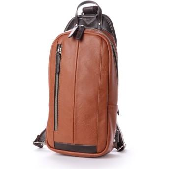 オティアス Otias フェイクレザー×ツヤ白化合皮 縦型ボディバッグ/ワンショルダーバッグ (キャメル)