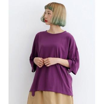 メルロー merlot Dカン付きラインテープTシャツ (パープル)