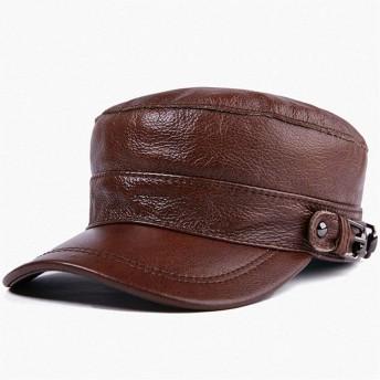 VIOAPLEM VIOAPLEMマンのギフトレザーハットユニセックス秋と冬のファッションフラットトップハットコットンキャップ暖かい帽子 (Color : Brown, Size : XL)