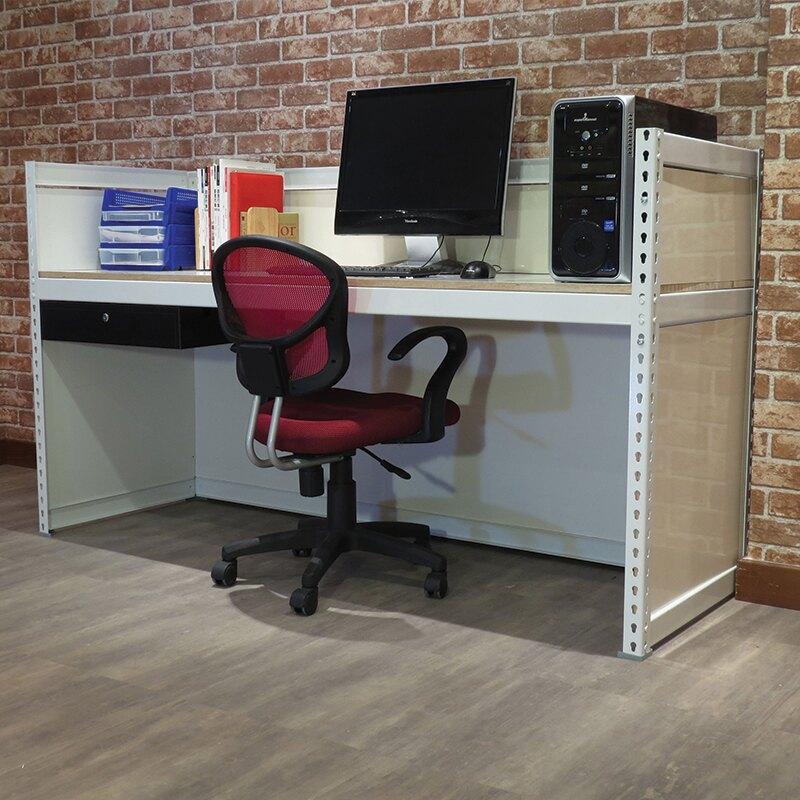 抽屜有色封板 免螺絲角鋼 玄關桌  書架型工作桌象牙白A款(6x2x3.5尺) 空間特工【AW610W】