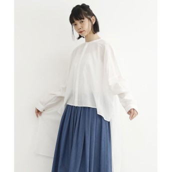 メルロー merlot 【MERLOT IKYU】バンドカラーロングテールシャツ (ホワイト)