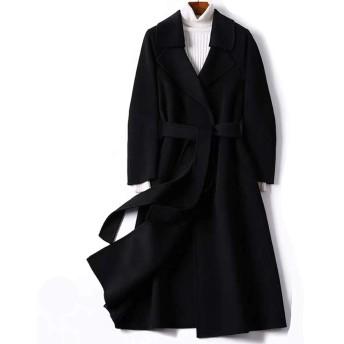 JINLUN ウールコート 100%ウール ロング丈 大人エレガント レディース 大きいサイズ チェスターコート カジュアル 秋冬 ブラック
