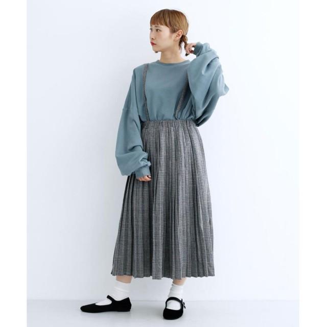メルロー merlot チェック柄サスペンダープリーツスカート (グレー)