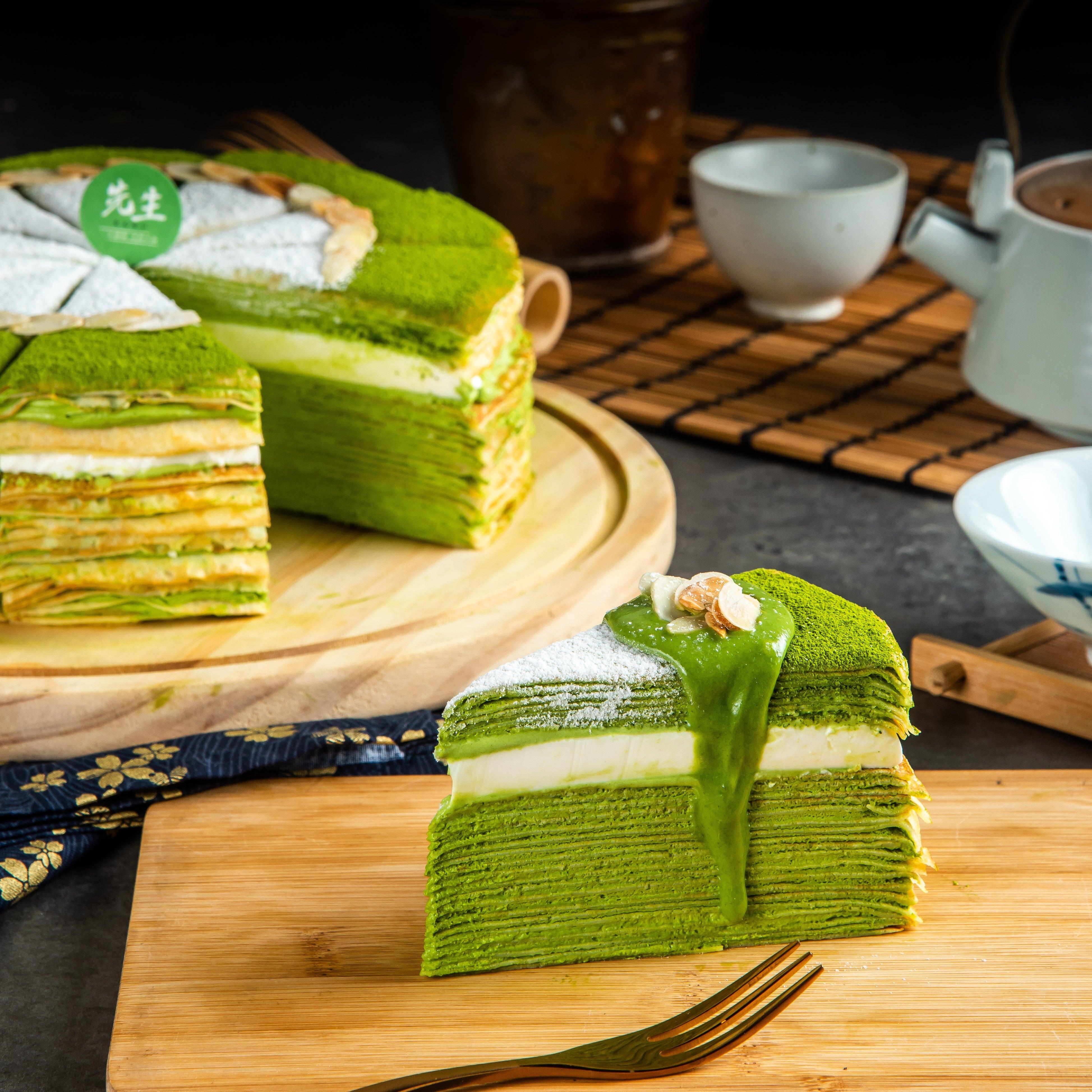 抹茶奶凍 千層蛋糕  日本小山園抹茶【Sensei先生千層】8吋