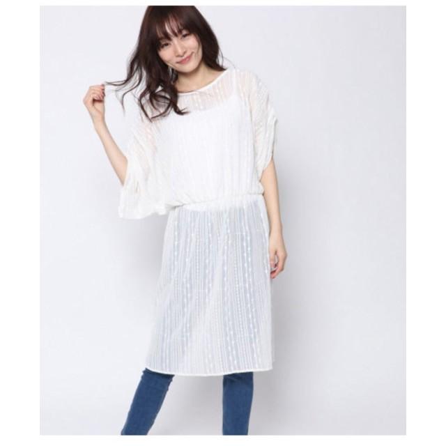 【AULI】 刺繍シフォンワンピース
