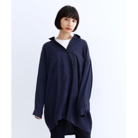 メルロー merlot オーバーサイズとろみシャツ (ネイビー)