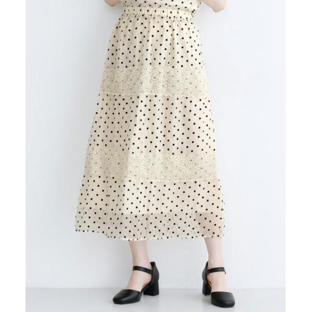 メルロー merlot ドット柄オーガンジーレース切り替えスカート (オフホワイト)