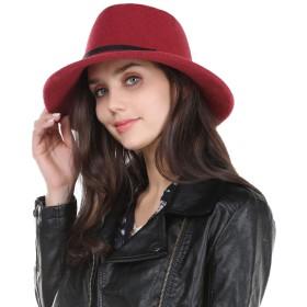 Taylor-mia(テイラーミア) 帽子 レディース 秋冬 100% ウール サイズ調節可 エレガント ハット 小顔効果 56cm 57cm 58cm 59cm