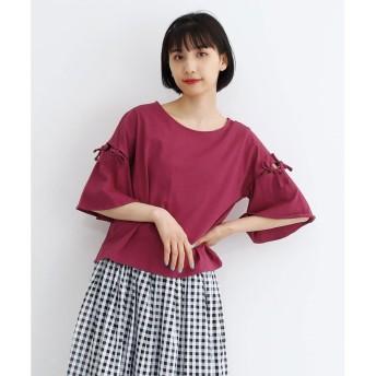 メルロー merlot 袖リボン半袖カットソー (ピンク)