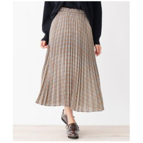 チェックプリ-ツロングスカート