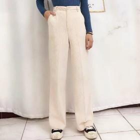 Futier Land ストレートコーデュロイパンツ ホワイト L レディース 5,000円(税抜)以上購入で送料無料 チノパンツ 夏 レディースファッション アパレル 通販 大きいサイズ コーデ 安い おしゃれ お洒落 20代 30代 40代 50代 女性 パンツ ズボン