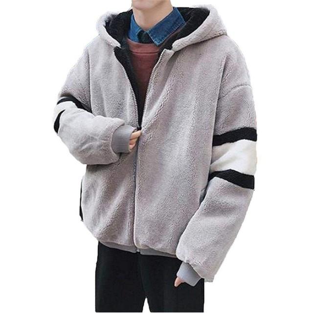 フリースジャケット OUYe ボアジャケットメンズ モッズコート アウター 裏起毛 モコモコ 厚手 スプライス フード付き 暖かい 冬 ゆったり 柔らかい ファッション カジュアル (グレー,Xl)