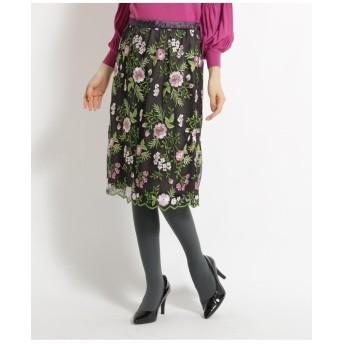【洗える】花柄刺繍チュールスカート
