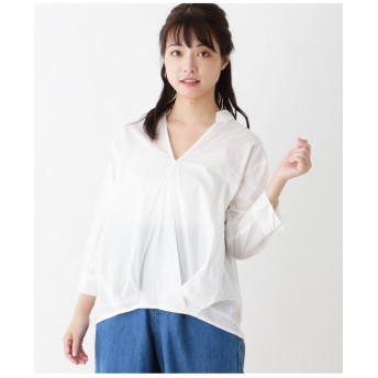 【コットン100%】カシュクール風スキッパーシャツ