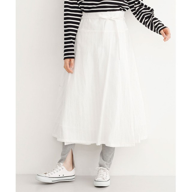 メルロー merlot ドットライン刺繍ラップスカート (オフホワイト)