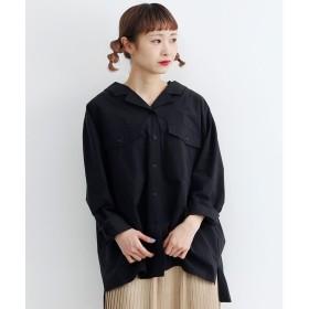 メルロー merlot オープンカラーバックリボンシャツ (ブラック)