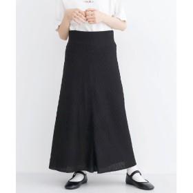メルロー merlot バイアス柄ニットスカート (ブラック)