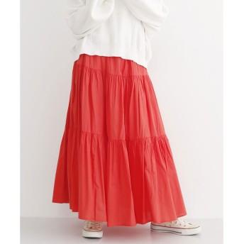 メルロー merlot ローンティアードギャザースカート (レッド)