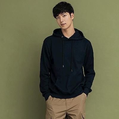 韓風純色抽繩連帽華夫格口袋上衣-OB大尺碼