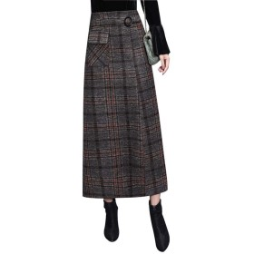 スカート レディーススカート ウール 格子縞 スカート秋冬 ワードスカートバッグヒップ冬 スカート 女性 長いセクション 人格分割スカート aライン スカート ロングスカート ハイウエストスカート 可愛い OPPUKI (Color : Red, Size : L)