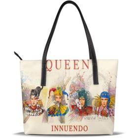 人気の女性バッグ ナノプリントの高級マイクロファイバーレザーレディースハンドバッグ 音楽女王Queen レジャー、ショッピング、パーティー、学校、仕事、旅行 美しくエレガント