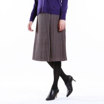 SALE【トランスワーク(TRANS WORK)】 【ウォッシャブル】幾何プリントスカート ブラック